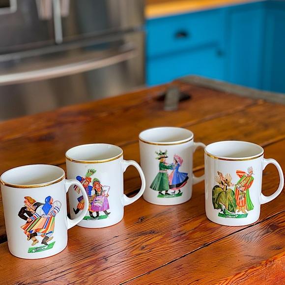 Vintage Set of Polish Coffee mugs Kaolina Favolina